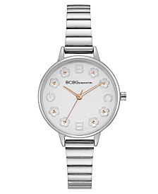 BCBGeneration Ladies Silver Bracelet Watch with Floral Dial Accents