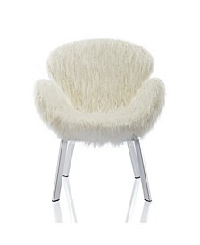 by Cosmopolitan Estelle Accent Chair with Faux Fur and Chrome Legs