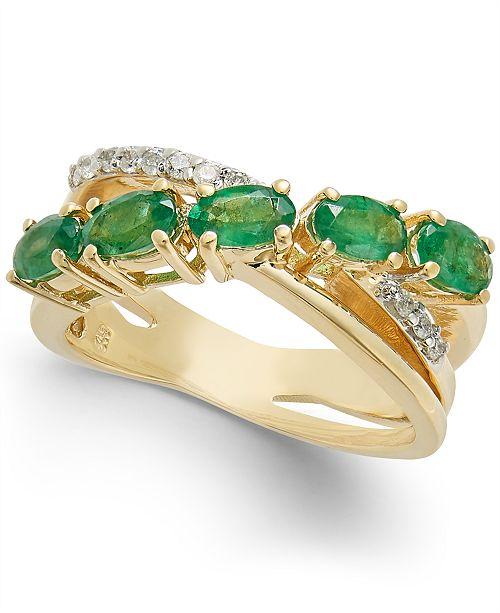Macy's Emerald (1-1/2 ct. t.w) & Diamond (1/10 ct. t.w) Statement Ring in 14k Gold