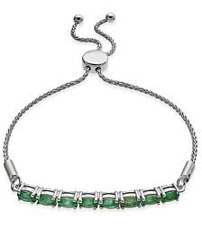 Emerald Bolo Bracelet (2 ct. t.w.) in Sterling Silver