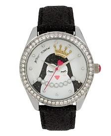 Betsey Johnson Penguin Motif Dial & Black Strap Watch