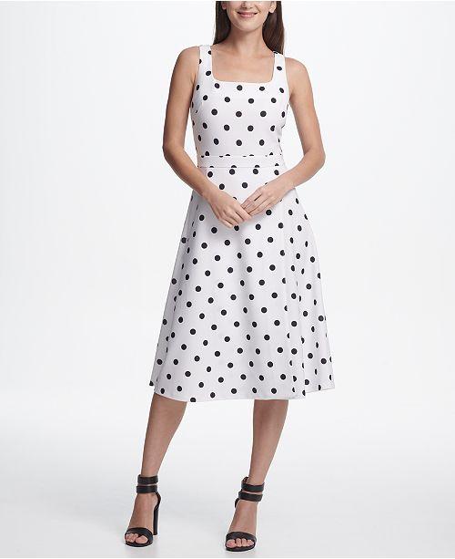 DKNY Square Neck Dot Midi Dress
