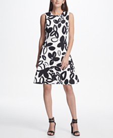 DKNY Graphic Floral Print Scuba Fit & Flare Dress