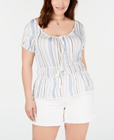 Planet Gold Trendy Plus Size Smocked-Waist Top