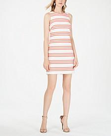 Metallic Stripe Brocade Shift Dress