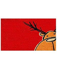 """Christmas Moose 17"""" x 29"""" Coir/Vinyl Doormat"""