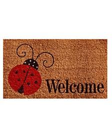 """Ladybug Welcome 17"""" x 29"""" Coir/Vinyl Doormat"""
