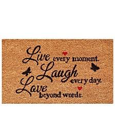 """Live Every Moment 17"""" x 29"""" Coir/Vinyl Doormat"""