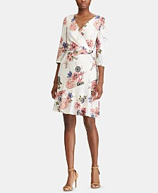 American Living Floral Faux-Wrap Jersey Dress