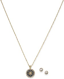 "Gold-Tone Crystal Nautical Pendant Necklace & Stud Earrings Set, 17"" + 2"" extender, Created for Macy's"