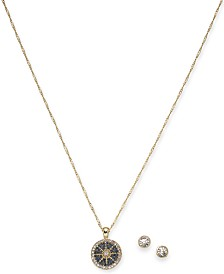 "Charter Club Gold-Tone Crystal Nautical Pendant Necklace & Stud Earrings Set, 17"" + 2"" extender, Created for Macy's"