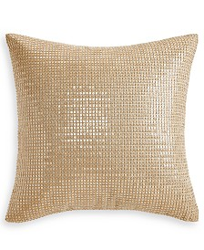 "Hotel Collection Metallic Stone 18"" x 18"" Decorative Pillow, Created for Macy's"