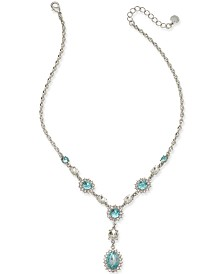 "Charter Club Crystal & Stone Lariat Necklace, 17"" + 2"" extender, Created for Macy's"