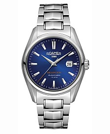 Roamer Men's 3 Hands Date 42 mm Dress Watch in Stainless Steel Case and Steel Bracelet