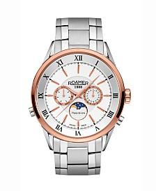 Roamer Men's 3 Hands Moonphase 43 mm Dress Watch in Steel Case and Steel Bracelet