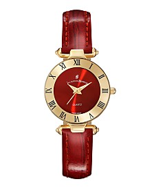 Jacques Du Manoir Ladies' Red Genuine Leather Strap with Goldtone Case and Red Dial, 26mm