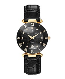 Jacques Du Manoir Ladies' Black Genuine Leather Strap with Goldtone Case and Black Dial with Diamond Markers, 33mm