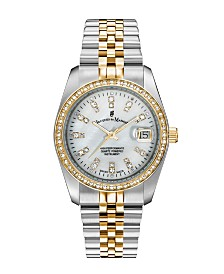 Jacques Du Manoir Ladies' Two Tone Silver or Gold Yellow Stainless Steel Bracelet with Twotone Case and Mother of Pearl Dial and Diamond Markers and Bezel, 36mm