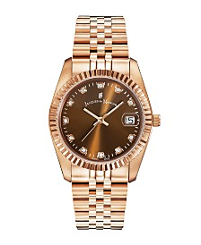 Jacques Du Manoir Ladies' Rose Gold Stainless Steel Bracelet with Rosegoldtone Case with Brown Sunray Dial and Diamond Markers, 36mm