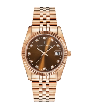 Jacques Du Manoir Ladies' Rose Gold Stainless Steel Bracelet with Rosegoldtone Case with Brown Sunray Dial and Diamond Markers