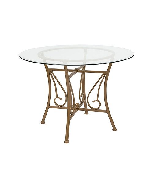 """Offex 42"""" Round Glass Dining Table with Matte Metal Frame"""