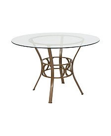 "Offex 45"" Round Glass Dining Table with Matte Metal Frame"