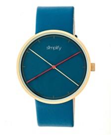Simplify Quartz The 4100 Gold Case, Genuine Blue Leather Watch 43mm