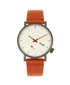 Quartz The 3600 Silver Case, Genuine Orange Leather Watch 40mm