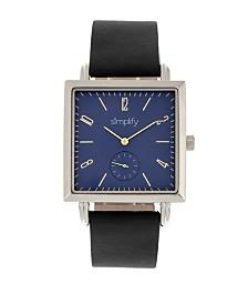 Simplify Quartz The 5000 Blue Dial, Genuine Black Leather Watch 38mm