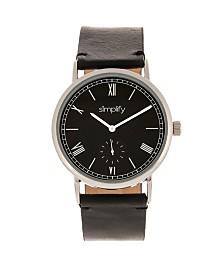 Simplify Quartz The 5100 Black Dial, Genuine Black Leather Watch 40mm