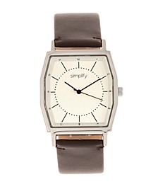 Quartz The 5400 Silver Case, Genuine Dark Brown Leather Watch 40mm