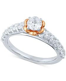 Diamond Engagement Ring (1 ct. t.w.) in 14k White Gold & 14k Rose Gold