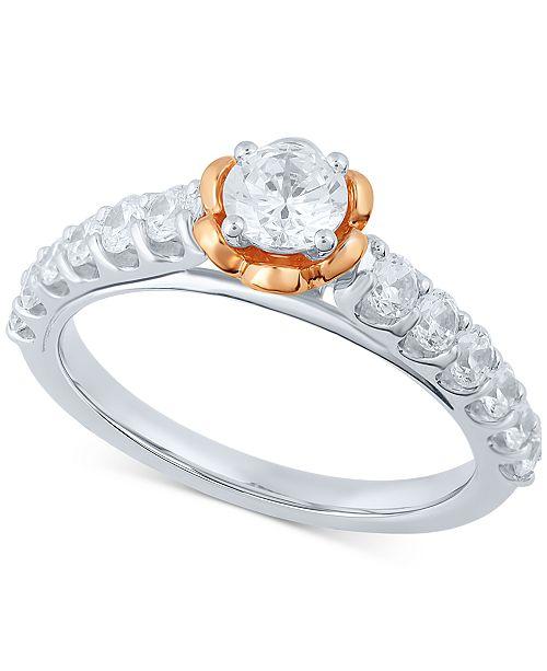 Macy's Diamond Engagement Ring (1 ct. t.w.) in 14k White Gold & 14k Rose Gold