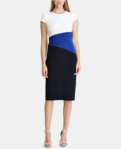 16a99275eff7e Lauren Ralph Lauren Colorblocked T-Shirt Dress & Reviews - Dresses ...