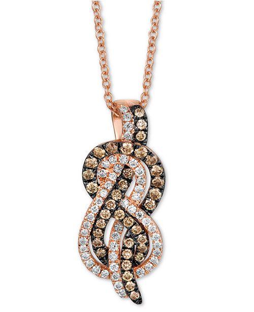 "Le Vian Chocolatier® Diamond Knot 18"" Pendant Necklace (3/8 ct. t.w.) in 14k Rose Gold"