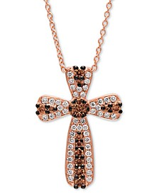 "Chocolatier® Diamond Cross 18"" Pendant Necklace (3/8 ct. t.w.) in 14k Rose Gold"