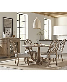 Trisha Yearwood Jasper County Stately Brown Round Dining 5-Pc. Set (Table & 4 Side Chairs)