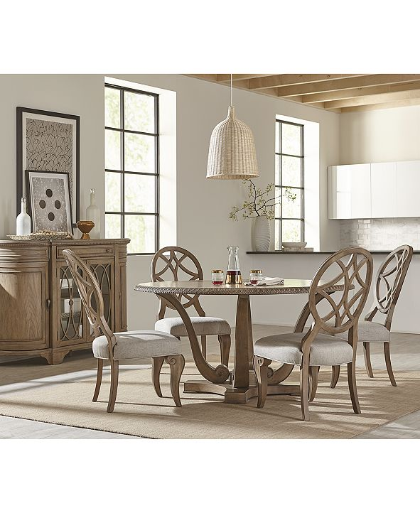 Furniture Trisha Yearwood Jasper County Stately Brown Round Dining Furniture, 5-Pc. Set (Table & 4 Side Chairs)