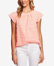 CeCe Jacquard-Striped Flutter-Sleeve Top