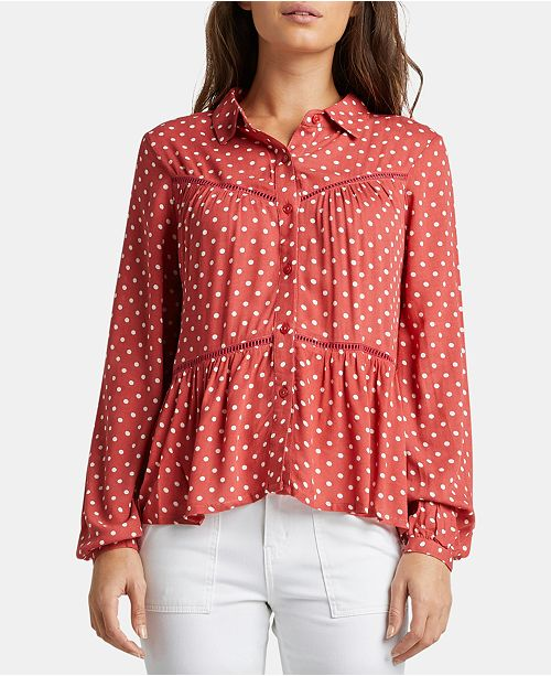 Silver Jeans Co. Sara Dot-Print Collared Babydoll Top
