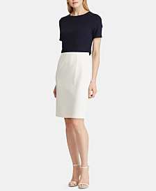 Lauren Ralph Lauren Petite Two-Tone Crepe Dress