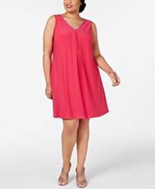 MSK Plus Size Embellished Split-Back Shift Dress