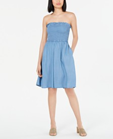 Maison Jules Strapless Smocked Chambray Dress, Created for Macy's