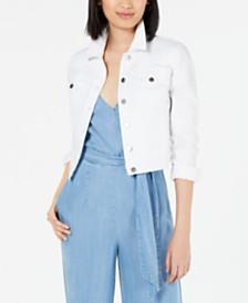 Maison Jules Eyelet-Sleeve Denim Jacket, Created for Macy's
