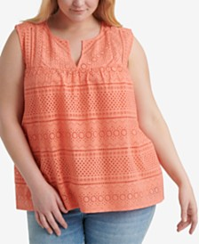 Lucky Brand Plus Size Cotton Eyelet Tank Top