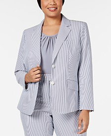 Anne Klein Plus Size Two-Button Striped Seersucker Jacket