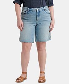 Plus Size Georgia Embroidered Jean Shorts