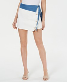 Line & Dot Colorblocked Denim Skirt