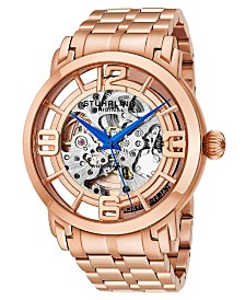 Stuhrling Stainless Steel Rose Tone Case on Stainless Steel Link Bracelet, Rose Tone Dial, with Blue Accents
