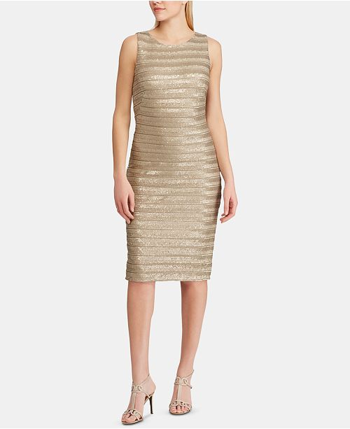 Lauren Ralph Lauren Striped Metallic Cocktail Dress